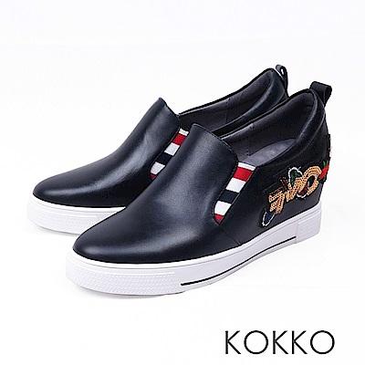 KOKKO -亮眼奪目刺繡真皮內增高休閒鞋-吸睛黑