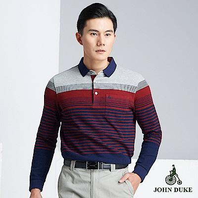 JOHN DUKE 率性樂活橫條POLO衫_藍/紅/灰(60-8V5568)