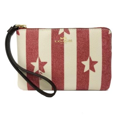 COACH 星星印花手拿包零錢包(米白/紅)