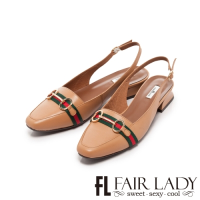 Fair Lady 馬銜釦後拉帶方頭粗跟鞋 蜜橙