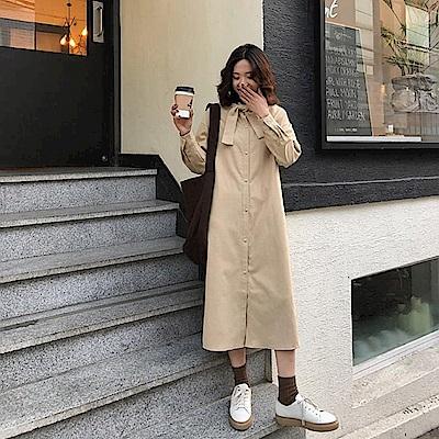 復古綁結排釦連身裙-2色-TMH