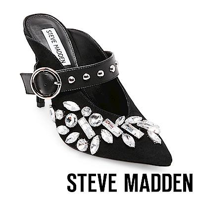 STEVE MADDEN-KEEP鑽飾尖頭大扣飾細高跟鞋-絨黑