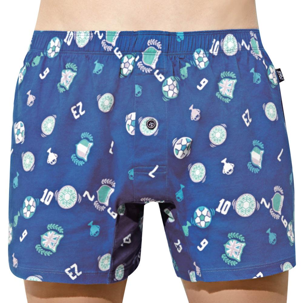 SOLIS 足球隊長系列M-XXL寬鬆印花四角男褲(群青藍)