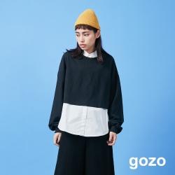 gozo 真兩件式針織襯衫上衣(黑色)