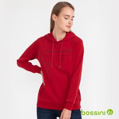 bossini女裝-圖案連帽厚棉T恤05暗紅
