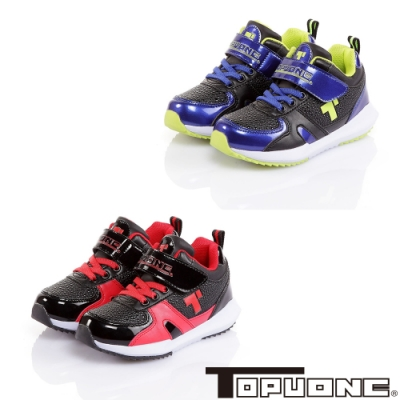 (雙11)TOPUONE童鞋 韓版健康抗菌防臭休閒鞋-黑紅.黑綠
