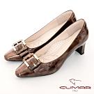 【CUMAR】優雅化身復古雙色小方頭粗跟中跟鞋-古銅