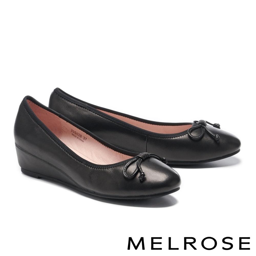 低跟鞋 MELROSE 氣質典雅蝴蝶結造型全真皮楔型低跟鞋-黑