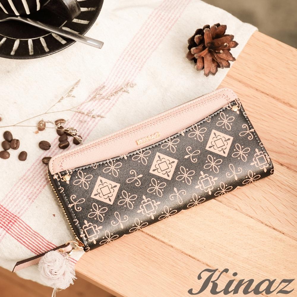 KINAZ 刺繡邊飾LOGO老花多隔層ㄇ型拉鍊長夾-克拉拉系列
