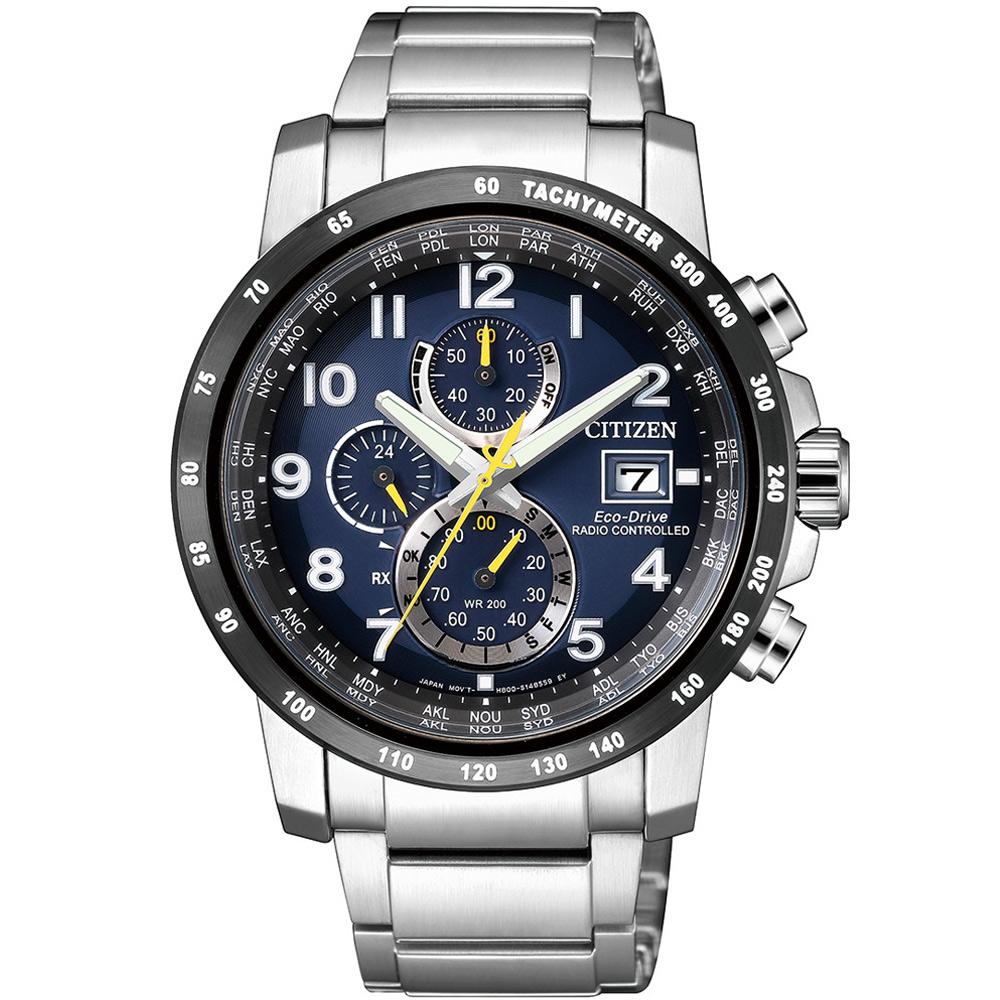 CITIZEN星辰 午夜藍 光動能電波計時錶(AT8124-91L)-藍/43mm