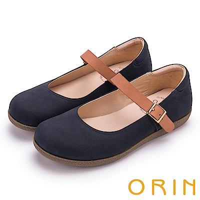 ORIN 渡假休閒必備 牛皮素面腳背帶休閒平底鞋-藍色