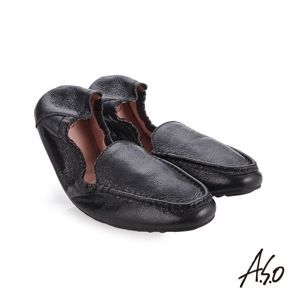 A.S.O輕履鞋  金箔牛皮可折疊娃娃鞋 黑