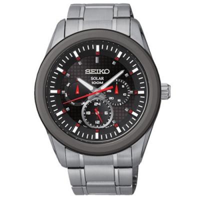 SEIKO 精工Criteria太陽能三眼計時腕錶-黑43mmSNE347P1