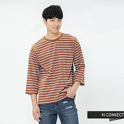 H:CONNECT 韓國品牌 男裝-滾邊五分袖條紋T-shirt-棕