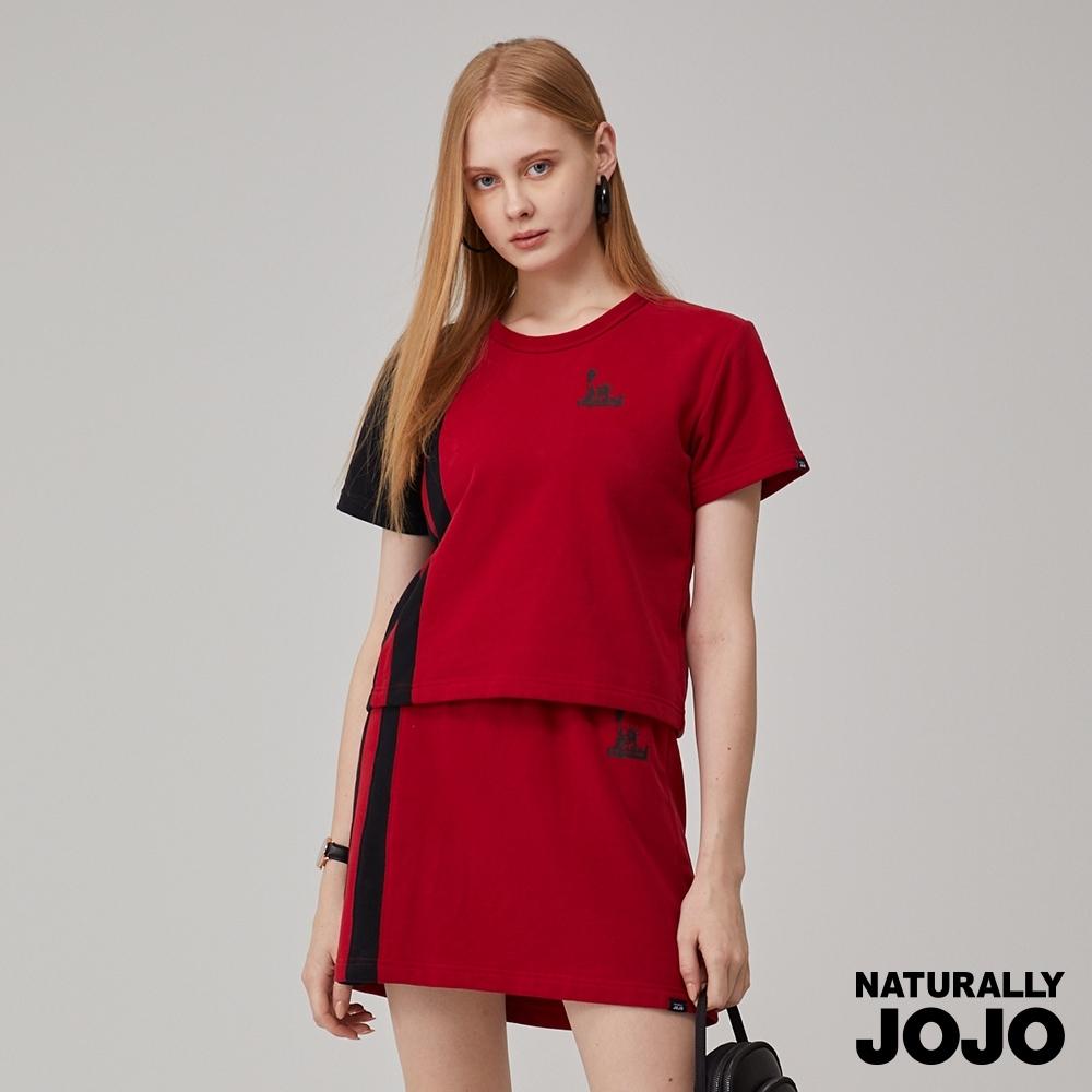NATURALLY JOJO 經典紐約配條短版衣(紅)