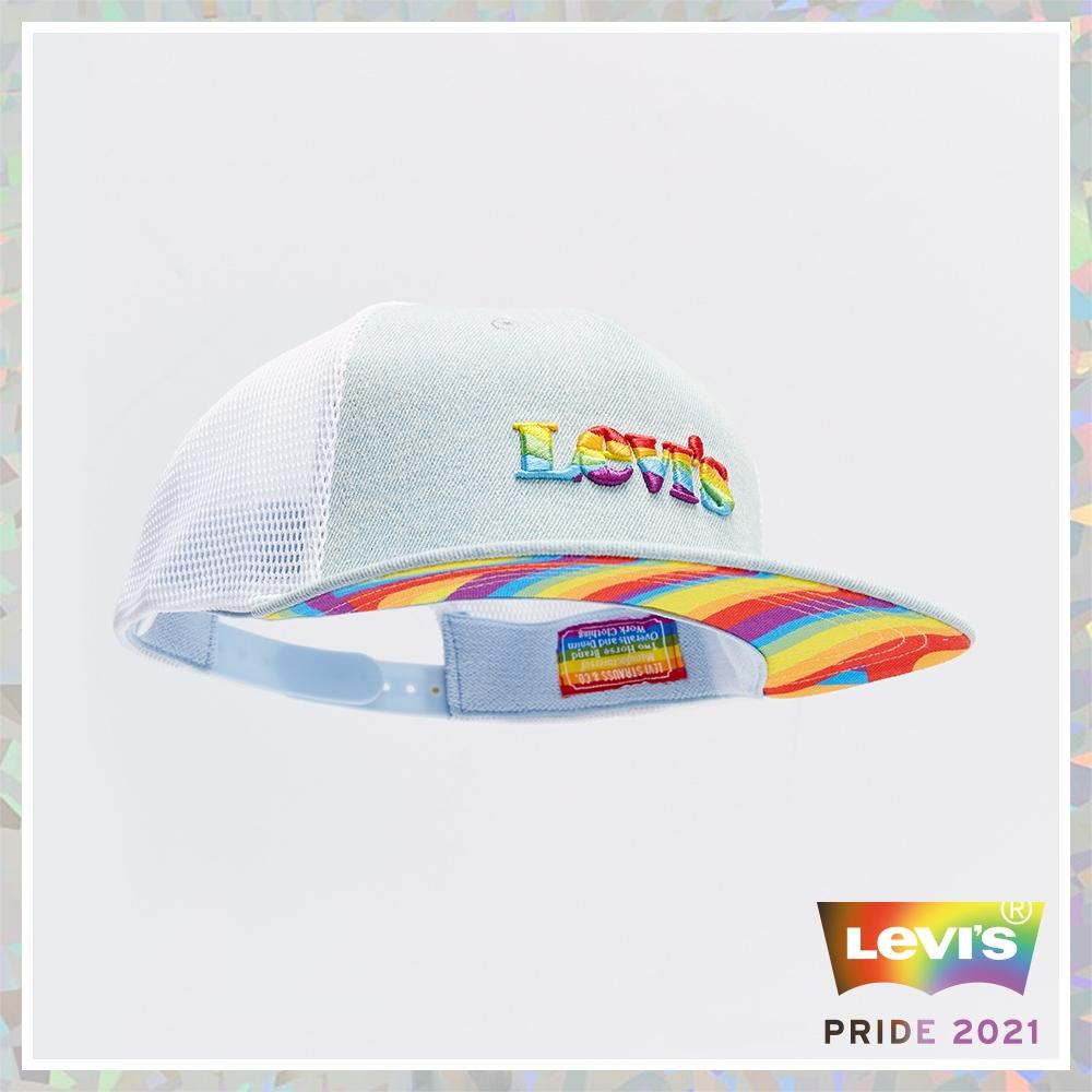 Levis Pride限量平權系列 男女同款 可調式排釦丹寧網帽 精工立體彩虹刺繡Logo 彩虹細節