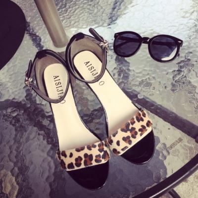 KEITH-WILL時尚鞋館 甜心可愛亮眼好穿造型跟涼鞋 豹紋