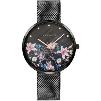 STRAND 丹麥海之星時尚腕錶-花語-黑/35mm(S700LXBBMB-DF)
