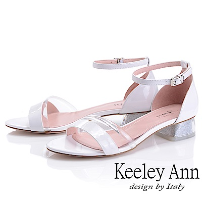 Keeley Ann造型透視跟 金蔥低跟涼鞋(白色-Ann系列)