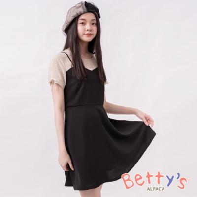 betty's貝蒂思 點點微透膚假兩件式洋裝(黑色)