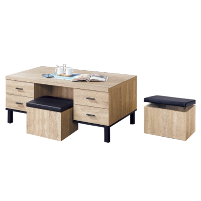 柏蒂家居-馬里昂工業風4尺大茶几(附收納椅凳)-120x60x51cm