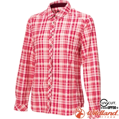 Wildland 荒野 0A72201-09桃紅色 女彈性針織格紋保暖襯衫