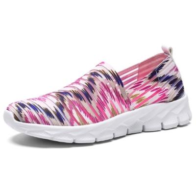 韓國KW美鞋館-清新森林動物紋飛織輕量健走鞋 粉
