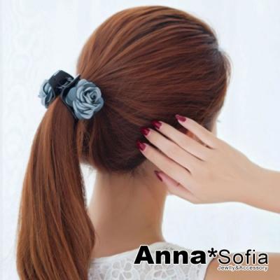 AnnaSofia 馨朵圓瓣 純手工髮抓髮夾(灰藍系)