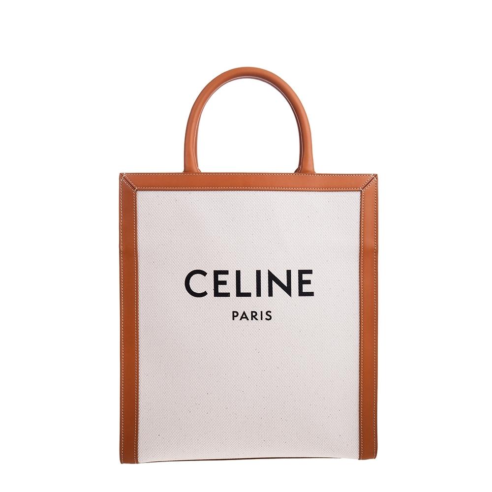 CELINE 新款LOOE印花帆布小牛皮小型直式CABAS CELINE手提/肩背包 (黃褐色)