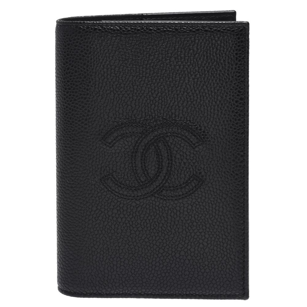CHANEL 經典浮雕雙C LOGO雙車紋小牛皮摺疊護照夾(黑) @ Y!購物