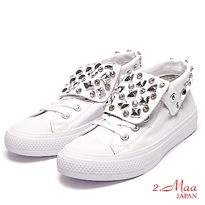 2.Maa-奢華水鑽綁帶高統休閒鞋-白