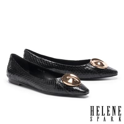 平底鞋 HELENE SPARK 經典時髦金屬圓釦全真皮平底鞋-黑