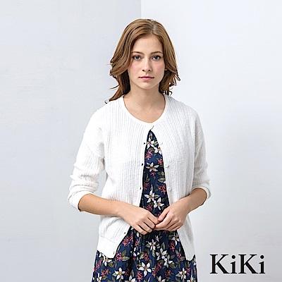 KiKi INLook 落肩排釦拼接針織小外套(白色)