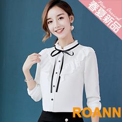 花邊圓領拼接荷葉邊長袖襯衫 (共三色)-ROANN