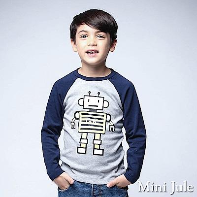 Mini Jule 上衣 機器人英文字母印花棒球長袖T恤(花灰)