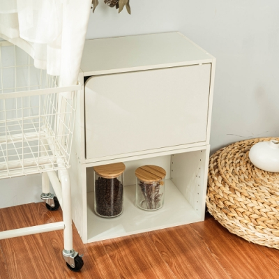 樂嫚妮 收納櫃/空櫃/書櫃/門櫃-層板可抽-純白色2入組