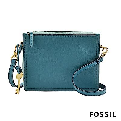 FOSSIL CAMPBELL 多夾層真皮立體小方包-湖水藍