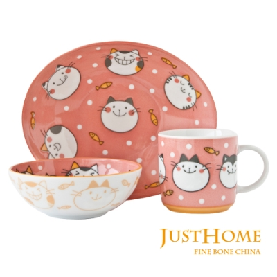 Just Home日本製童趣生活陶瓷3件兒童餐具組(盤+缽+杯)