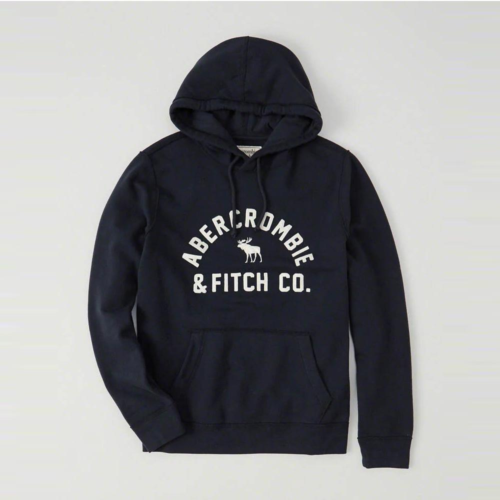 麋鹿 AF A&F 年度熱銷經典文字刺繡設計連帽T恤-深藍色