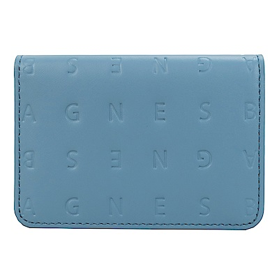 agnes b.LOGO壓紋證件夾(灰藍)