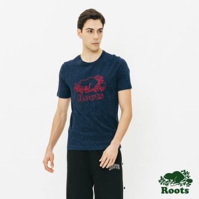 男裝Roots-結粒沙短袖T恤-藍