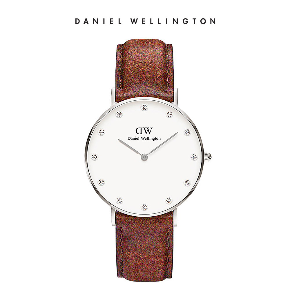 DW 手錶 官方旗艦店 34mm銀框 Classy 棕色真皮鑽石錶