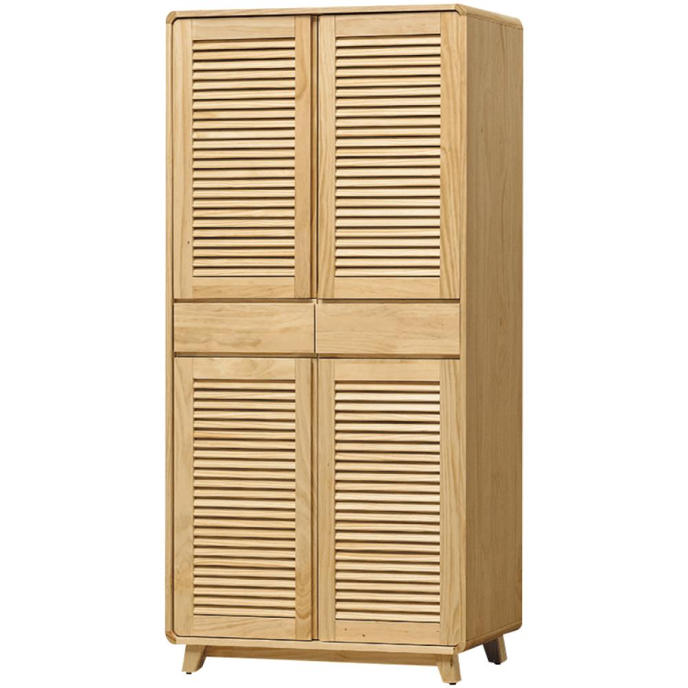 綠活居 普利斯時尚2.6尺實木四門高鞋櫃/收納櫃-79x38x182cm免組