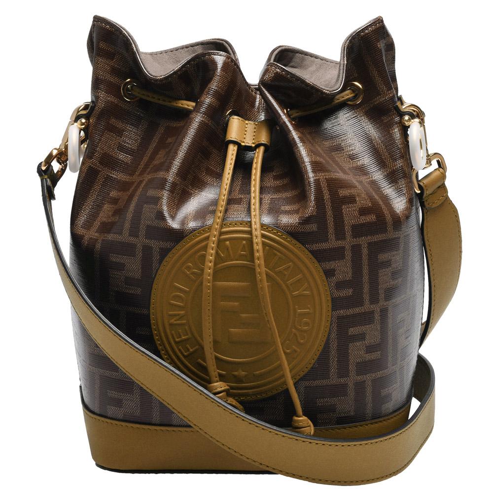 FENDI MON TRESOR經典品牌LOGO帆布包身牛皮飾邊肩/斜背水筒包(小-淺棕)