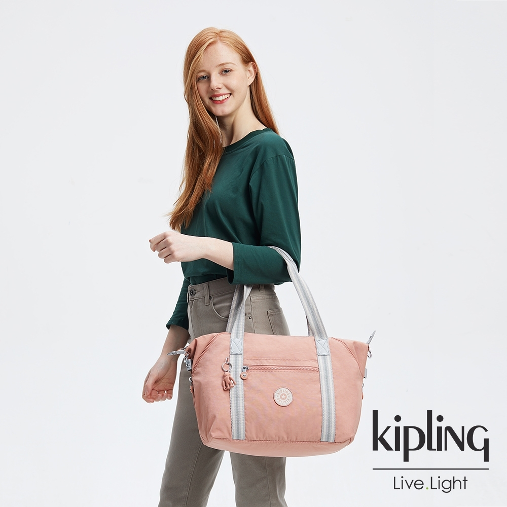 Kipling 奶油草莓拿鐵色手提側背包-ART