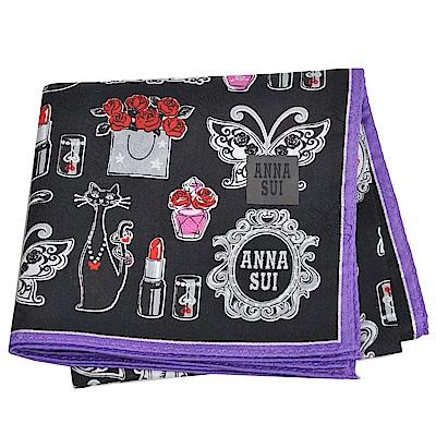 ANNA SUI 愛美的世界繽紛圖騰字母LOGO帕領巾(黑/紫色邊)