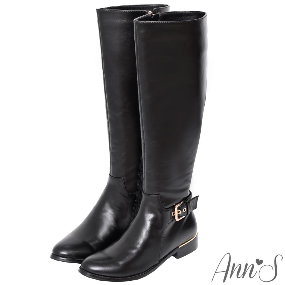 Ann'S微涼都會感-金色扣帶夾心鞋跟平底及膝長靴-黑