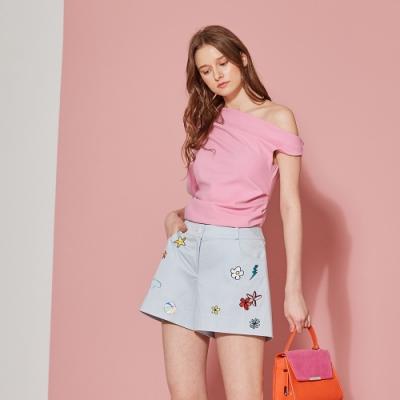 ICHE 衣哲 時尚3D刺繡印花挺版造型短褲-靜謐藍
