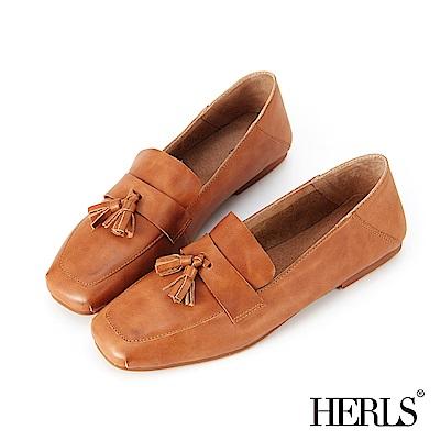 HERLS 柔軟全真皮流蘇方頭樂福鞋-棕色 @ Y!購物