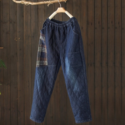 格紋拼接牛仔寬鬆顯瘦夾棉褲哈倫長褲-設計所在